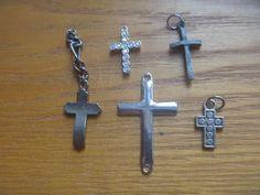 Cross pendants, 5 cross pendants Kids Rings, Small Rings, Vintage Rhinestone, Cross Pendant, Jewelry Supplies, Craft Projects, Handmade Items, Jewelry Making, Pendants