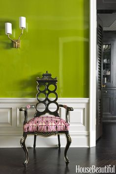 """Pantone's color of the year brings to mind the outdoors, but it works inside too. For a high-impact entry, designer Christina Murphy Pisa turned to a similar shade. """"This acidic apple green, which is sophisticated but not too serious, nails it, she said."""