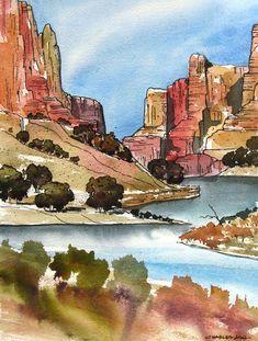 Little Colorado River - Original Watercolor Painting Watercolor Landscape Paintings, Watercolor Sketch, Landscape Art, Watercolor Pencils, Watercolor Trees, Watercolor Portraits, Abstract Paintings, Landscape Design, Kunst Inspo