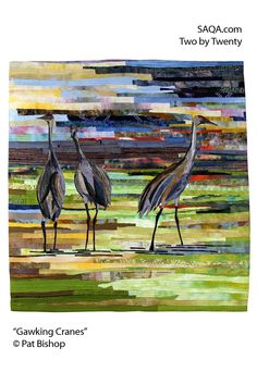 """Gawking Cranes"" - art quilt by Pat Bishop"