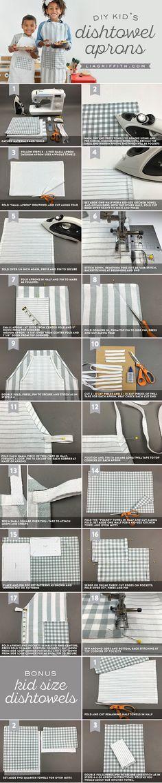 #kidsaprons #easysewing #diytutorial #sewingtutorial www.LiaGriffith.com: