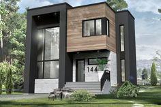 House Plan ë leguë architecture Modern Condo, Small Modern Home, Modern House Plans, Small House Plans, Modern House Design, Modern Exterior, Exterior Design, Sims House, Industrial House