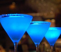 Blue drinks. Pretty cool looking.