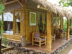 Simple House Design Made in Bamboo House Design Building The Native House Design of the Philippines Wooden House Design, Bamboo House Design, Tropical House Design, Simple House Design, Tropical Houses, Style At Home, Les Philippines, Rest House Philippines, Philippines House Design