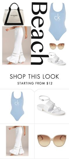 """Sun's Out: Beach Day 2"" by beakragh on Polyvore featuring Calvin Klein, Jil Sander, Linda Farrow, Balenciaga, beachday, ss17 and CKswim"