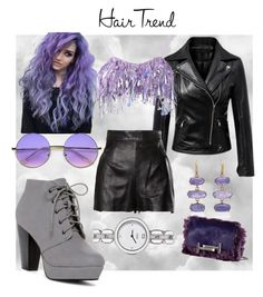 """""""Purple"""" by astrild15 ❤ liked on Polyvore featuring beauty, Ashish, Moschino, Fendi, ZeroUV, Lauren K, Tod's, hairtrend and rainbowhair"""