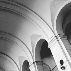 Union Station arches, Washington DC // Black and White Fine Art Photography // Square Photo Print - $12
