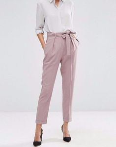 Woven Peg Trousers with OBI Tie ASOS lilac pegged trousers for women's business casual work wear. Business Outfit Frau, Business Outfits, Business Attire, Business Formal, Business Fashion, Summer Business Casual, Business Casual Womens Fashion, Business Casual Dresses, Casual Work Wear