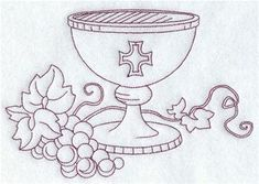 Machine Embroidery Designs at Embroidery Library! Première Communion, First Holy Communion, Hand Embroidery Patterns, Machine Embroidery Designs, Reconciliation Catholic, Stained Glass Quilt, Communion Invitations, Altar Cloth, Christian Symbols