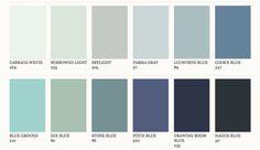 Farrow & Ball Blue paint colours, for spare bedroom walls. Blue Paint Colors, Wall Colors, House Colors, Farrow And Ball Paint, Farrow Ball, Interior Paint, Interior And Exterior, Ok Design, Blue Walls