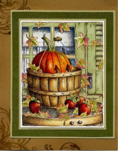 Impression Obsession by Colorin' Kate - Cards and Paper Crafts at Splitcoaststampers Impression Obsession Cards, Thanksgiving Cards, Fall Cards, Halloween Cards, Colored Pencils, Paper Crafts, Serendipity, Stamping, Coloring