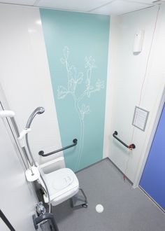 SImple, but effective. Brightening up a hospital ensuite bathroom. Line Art by Artinsite Clinic Interior Design, Clinic Design, Commercial Interior Design, Medical Design, Healthcare Design, Wc Design, Corridor Design, Restroom Design, Hospital Room