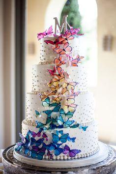 Beautiful elegant rainbow butterfly cake by Sweet Traders ... Elegant Rainbow Wedding Cake