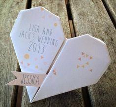 Custom Origami Heart Wedding Guest Place Card by MagentaDesigns Creative Wedding Invitations, Wedding Invitation Cards, Wedding Stationery, Origami Wedding Invitations, Invitation Ideas, Origami Ball, Origami Heart, Wedding Places, Wedding Place Cards