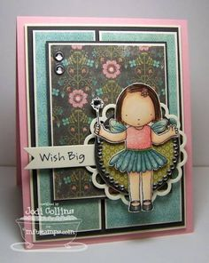 Wish Big   Believe In Magic from My Favorite Things    Paper: Bubblegum (MFT), Smokey Shadow (PTI), Choice Buttercream (TE) and Hazel/Stella & Rose (My Minds Eye)    Ink: Memento Tuxedo Black and Pretty In Pink (SU!)    Accessories: Copic Markers, Crystal Glitter, Open Scallop Doily Duo Die-Namics, First Place Award Ribbon Die-Namics, Bling, Bling Circle, Circle Nestabilities, 1/4 Circle Punch and Jody Boosters