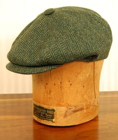 "8/4 Cap in Virgin Wool Herringbone Tweed Deep Fit, Classic Newsboy Shape Black Satin Lining available in Moss Green, Sized S to XXL made in Italy Don't see your Size? Click the ""Notify Me"" Button for"