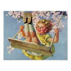 Vintage Girl Swinging on a Tree Swing in Spring Print