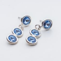 Swarovski Rivoli Earrings 6/6/6mm Light Sapphire  Dimensions: length: 3,2cm stone size: 6mm Weight ( silver) ~ 3,30g ( 1 pair ) Weight ( silver + stones) ~ 3,95g Metal : sterling silver ( AG-925) Stones: Swarovski Elements 1122 SS29 ( 6mm ) Colour: Light Sapphire 1 package = 1 pair  Price 9 EUR Sterling Silver Earrings Studs, Silver Jewelry, Stud Earrings, Sapphire, Swarovski, Crystals, Dimensions, Crafty, Ebay