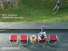 Benjamin Moore Arborcoat in Spellbound, Semi Solid. Learn how to stain your deck here and more at BenjaminMoore.com.