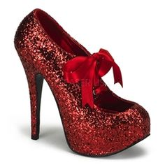 "$89 Bordello Teeze 10G in Red Glitter. 5 3/4"" Heel Glitter Platform with Sparkly Glitter and Mary Jane Ribbon Bow Tie across the front."