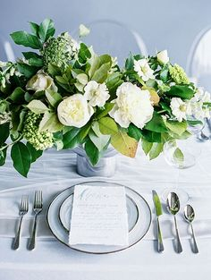 Organic Green and White Centerpiece | Taylor Lord Photography on @heyweddinglady via @aislesociety