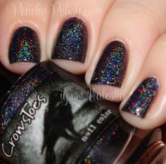 Crows Toes: ⭐ Black Widow ⭐ ... a black linear holographic polish