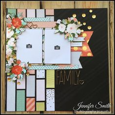 Judkins family 2015 Family: Single Page Scrapbook Layout using scraps of Close To My Heart Hello Lovely Papers Wedding Scrapbook, Baby Scrapbook, Scrapbook Paper Crafts, Scrapbook Cards, Scrapbook Layout Sketches, Scrapbook Designs, Scrapbook Supplies, Simple Scrapbooking Layouts, Photo Layouts
