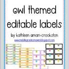 EDITABLE owl themed labels!!