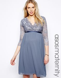 Asos Maternity Wrap Midi Dress in Lace and Chiffon in Gray (Grey)
