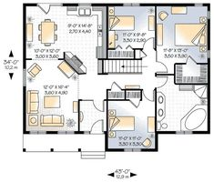 House Plans With Bedrooms In The Basement | 1339 Square Feet, 3 Bedrooms, 1