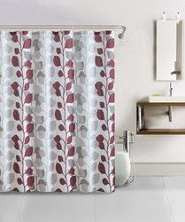 Shower Curtain- 13pc Waffle Texture Set with Rollerball Hooks- Sydney Red