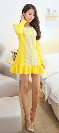 Cute Mini Long Sleeved Dress with Falbala Skirt YRB0704