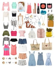 """""""Summer queen"""" by fashionestar99 ❤ liked on Polyvore featuring Style & Co., Straw Studios, prAna, Estée Lauder, NYX, T-shirt & Jeans, French Connection, Casetify, Nica and Chicwish"""