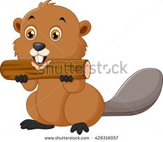 Illustration of a beaver on a white background - stock vector