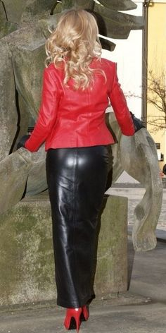 Heike in a black and red Leather Combo