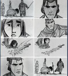 Mulan storyboard art by Dean DeBlois