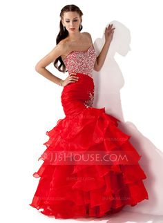 Prom Dresses - $186.99 - Mermaid Sweetheart Floor-Length Organza Satin Prom Dress With Ruffle Beading Sequins (018005174) http://jjshouse.com/Mermaid-Sweetheart-Floor-Length-Organza-Satin-Prom-Dress-With-Ruffle-Beading-Sequins-018005174-g5174
