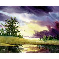 landscape painting watercolor PRINT Sunset Clouds lake water reflection river purple yelow art GICLEE 8x10