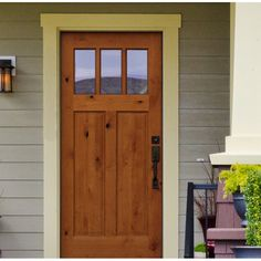 Your house will be the talk of the neighborhood when they see your new Shaker Craftsman 3 Lite Ready to Install Wood Prehung Front Entry Door. Factory prefinished and prehung ensures this wood door… Craftsman Front Doors, Exterior Front Doors, Front Entry, Farmhouse Front Doors, Craftsman Exterior Door, Cottage Front Doors, Wall Exterior, House Doors, Country Front Door