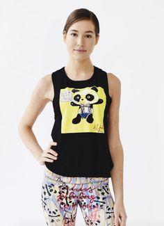 6ac953a9157d0d Black Graffiti Panda High Back Tank Shop this adorable and comfortable tank  top! It is. Joriki Yoga