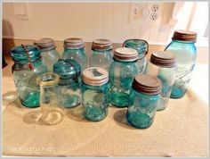 The Empty Nest: What Do You Know About Aqua Ball Jars? [Information about History of Mason Jars] Antique Bottles, Vintage Bottles, Bottles And Jars, Glass Jars, Antique Glass, Vintage Glassware, Vintage Mason Jars, Blue Mason Jars, Mason Jar Gifts