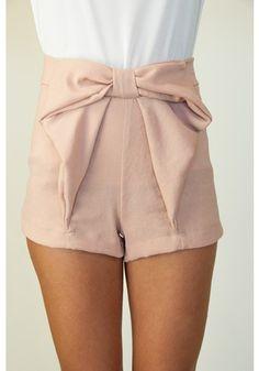 rose-pink bow-front minishorts