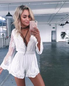 Beautiful white romper for summer