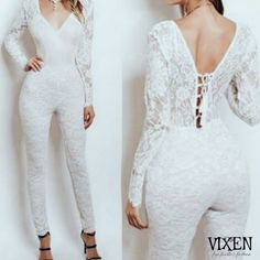 b83950d14a2  Selena  All Over Lace Long Sleeve Jumpsuit - Ivory