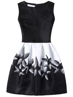 Shop Abstract Flower Print Fit & Flare Dress - Black online. SheIn offers…