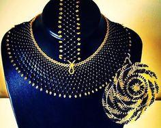 Zulu beaded drape necklace in turquoise by ZuluBeads on Etsy