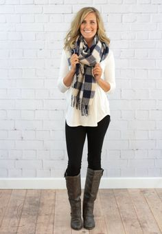 Navy & White Milly Scarf