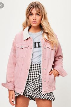 Pink Borg Lined Denim Jacket This denim jacket features a pink shade, cream borg lining, distressed denim detailing and front pockets. Pink Denim Jacket, Jean Jacket Outfits, Lined Jeans, Denim Outfit, Distressed Denim Jeans, Short Women Fashion, Blazer Fashion, Outfits, Fashion Clothes