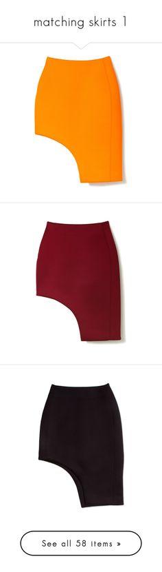 """matching skirts 1"" by lulucosby ❤ liked on Polyvore featuring skirts, bottoms, orange, юбки, asymmetrical skirt, orange skirt, josh goot, modaoperandi, red knee length skirt and red skirts"