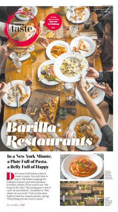 Barilla Restaurants: In a New York Minute, a Plate Full of Pasta, a Belly Full of Happy|Epoch Taste #Food #newspaper #editorialdesign